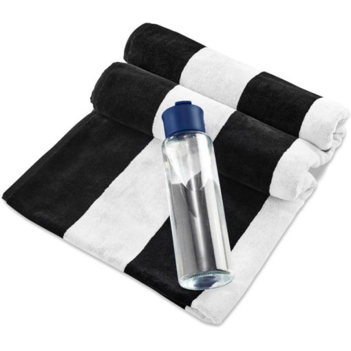 The Kooshty Summer Set - Bali is a summer time gift set that includes a large black and white stripe 100% cotton towel and a 700ml glass drinking bottle with a navy PP lid. Packaged in a gift box