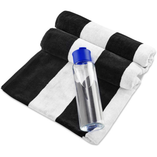 The Kooshty Summer Set - Bali is a summer time gift set that includes a large black and white stripe 100% cotton towel and a 700ml glass drinking bottle with a blue PP lid. Packaged in a gift box