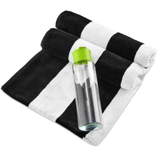 The Kooshty Summer Set - Bali is a summer time gift set that includes a large black and white stripe 100% cotton towel and a 700ml glass drinking bottle with a lime PP lid. Packaged in a gift box