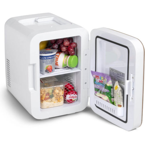 The Blaine Desk Fridge is an ABS and glass desk item. With a 6L sotrage, two internal storage shelves, a pouch in the door, and a carry handle on the top. Available in white with a gold front display on the door