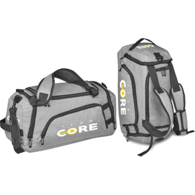 The Luke Dual Function Sports Bag is made from 1680D material in the colour grey. The bag has multiple zip pockets, adjustable shoulder strap and padded back straps.