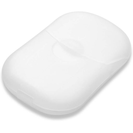 The Salford Paper Soap is a white PP pod like case and contains 30 sheets of thin soap paper