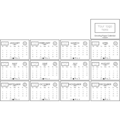 The Plantable Paper Calendar Layout to display the 12 months of the year and what seed each month has