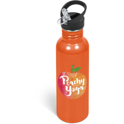 The Ventura Flip Valve Lid Drink Bottle is a orange stainless steel bottle with a 750ml capacity, black screw on lid with a black screw on lid, flip up drinking straw and a carry loop