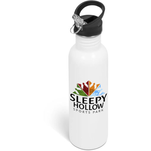 The Ventura Flip Valve Lid Drink Bottle is a white stainless steel bottle with a 750ml capacity, black screw on lid with a black screw on lid, flip up drinking straw and a carry loop