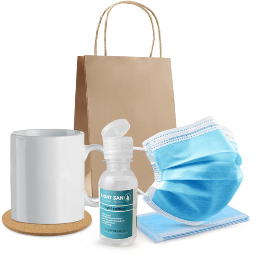 The B Safe Take a Break is a personal care combo pack that includes a white 300ml ceramic mug, round cork coaster, 100ml waterless liquid hand sanitiser ina PET bottle with a flip top lid and single drop dispensing nozzle, 5 x disposable 3-ply fave masks and a brown 150gsm paper bag with carry handles