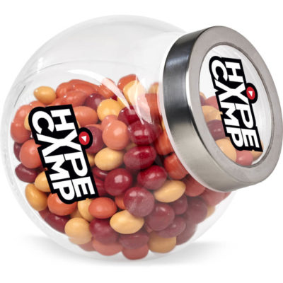 The Classic Glass Candy Jar is a plastic jar with a circular stainless steel screw on lid with two flat bases for easy display