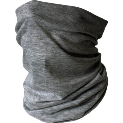 The Premium Multifunctional Headwear is a fabric headwear item designed to be worn as snood like scarf or pulled up around the lower half of the face. Available in dark grey melange