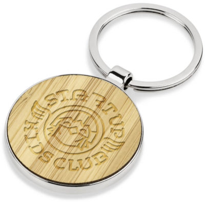The Thiago Keyholder is a stainless steel keyholder with a wooden circular pendant thats perfect for laser engraving