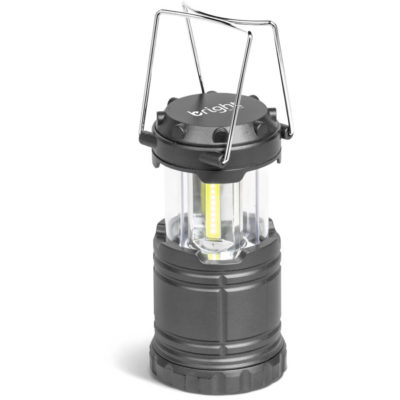 The Polaris Lantern is an ABS and PS plastic lantern with a retractable bright COB light source and two stainless steel wire carry handles