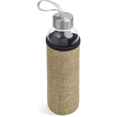 The Kooshty Safari Glass Water Bottle is a 500ml glass water bottle with a stainless steel lid, nylon carry loop and a laminated jute insulation sleeve to keep the water cooler for longer. Packaged in a brown window gift box