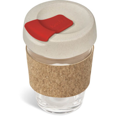 The Kooshty Kork Chacha Glass Kup is a 340ml borosilicate glass cup with a cork sleeve, wheat straw screw on lid and red flip lid