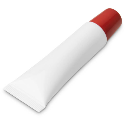 The Crystal Lip Balm is a PP plastic plain white tube with a brightly coloured red screw on cap and contains 10g moisturising lip balm