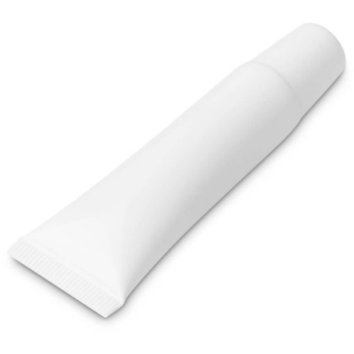 The Crystal Lip Balm is a PP plastic plain white tube with a white screw on cap and contains 10g moisturising lip balm