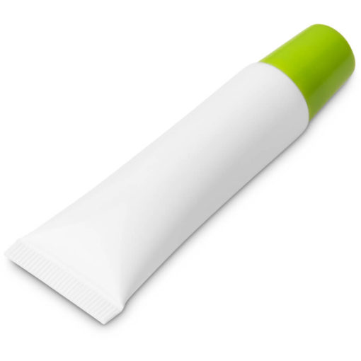 The Crystal Lip Balm is a PP plastic plain white tube with a brightly coloured lime green screw on cap and contains 10g moisturising lip balm