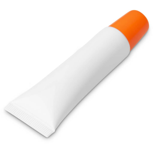 The Crystal Lip Balm is a PP plastic plain white tube with a brightly coloured orange screw on cap and contains 10g moisturizing lip balm