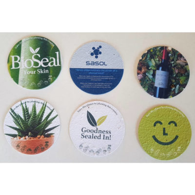 The Plantable Paper Round Coasters is made from 100% recycled paper and contains seeds, that can be planted after use to grow your own garden