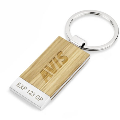 The Kaleb Keyholder is a rectangular shaped pendant, made from bamboo & zinc alloy with polished nickel plating. With a silver solid metal split ring loop.
