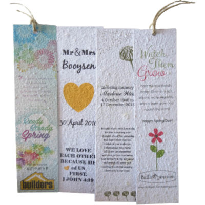 The Plantable Paper Bookmark is made from 100% recycled paper and contains seeds, that can be planted after use to grow your own garden