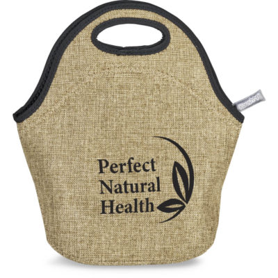 The Kooshty Safari Lunch Bag is a natural jute-look insulated neoprene lunch biox pouch with branded zip closure and two carry handles. Black trim finish