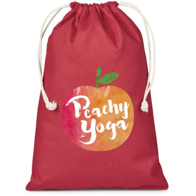 The Allsorts Maxi Cotton Drawstring Pouch is a large red 220gsm cotton drawstring pouch