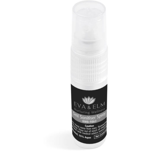 The Eva & Elm Quinn 5Ml Sanitiser Spray is a transparent PP spray bottle with a removable cap to keep the dirt out and contains 5ml waterless liquid hand sanitiser
