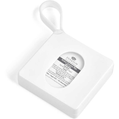 The Eva & Elm Sili-Tab Mini Sanitiser Pads Kit is a white PP square container with a window view and removable lid on a strap. Contains 10 x alcohol based wet wipes in easy to open pouches