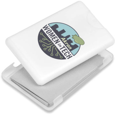 The Eva & Elm Wexham Screen & Lens Cleaning Kit is a white slimline PP container that contains 20ml waterless liquid hand sanitiser and a soft grey square microfibre cloth to clean your mobile device with