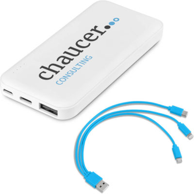The Kingpin 5 Compact 5000mAh Power Bank is a white ABS powerbank in a sleek design with a Type-C and Micro USB port. Includes a cyan 3-in-1 charging cable