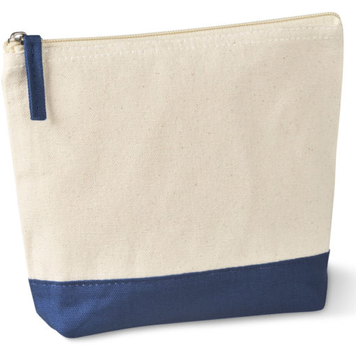 The Kooshty Q Cotton Cosmetic Bag is a natural tone 220gsm cotton toiletry bag with a zip closure, brightly coloured navy panel insert along the base and a matching colour zip puller