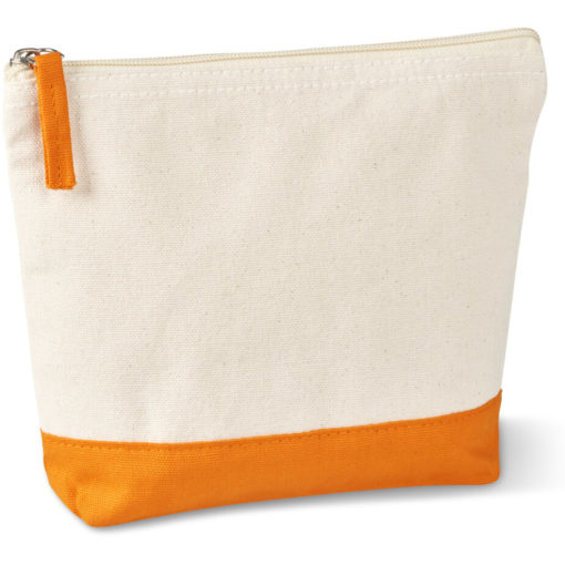 The Kooshty Q Cotton Cosmetic Bag is a natural tone 220gsm cotton toiletry bag with a zip closure, brightly coloured orange panel insert along the base and a matching colour zip puller