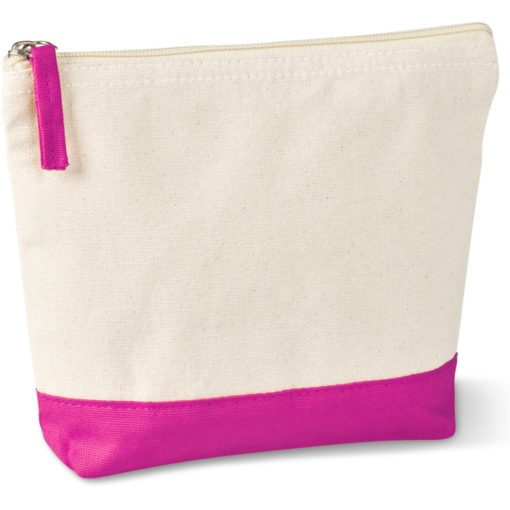 The Kooshty Q Cotton Cosmetic Bag is a natural tone 220gsm cotton toiletry bag with a zip closure, brightly coloured pink panel insert along the base and a matching colour zip puller