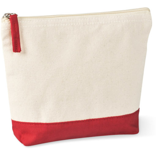 The Kooshty Q Cotton Cosmetic Bag is a natural tone 220gsm cotton toiletry bag with a zip closure, brightly coloured red panel insert along the base and a matching colour zip puller