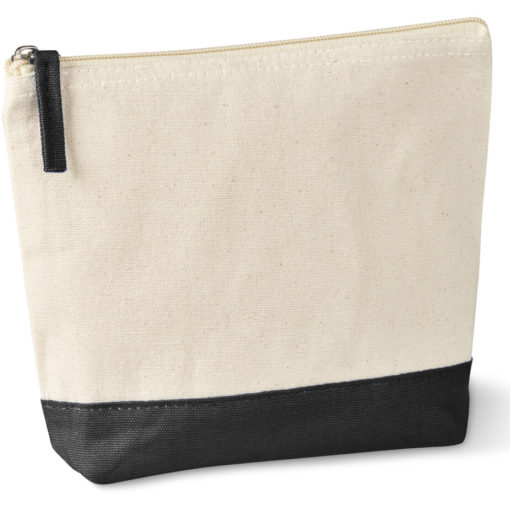 The Kooshty Q Cotton Cosmetic Bag is a natural tone 220gsm cotton toiletry bag with a zip closure, brightly coloured black panel insert along the base and a matching colour zip puller