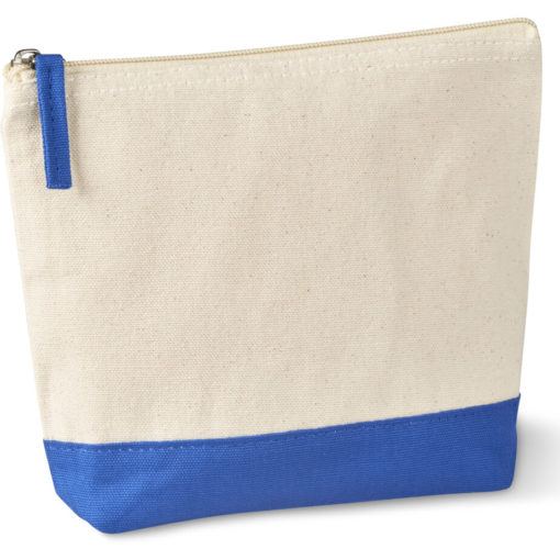 The Kooshty Q Cotton Cosmetic Bag is a natural tone 220gsm cotton toiletry bag with a zip closure, brightly coloured blue panel insert along the base and a matching colour zip puller