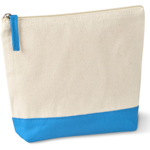 The Kooshty Q Cotton Cosmetic Bag is a natural tone 220gsm cotton toiletry bag with a zip closure, brightly coloured cyan panel insert along the base and a matching colour zip puller