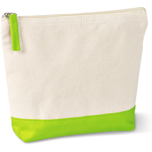 The Kooshty Q Cotton Cosmetic Bag is a natural tone 220gsm cotton toiletry bag with a zip closure, brightly coloured lime panel insert along the base and a matching colour zip puller