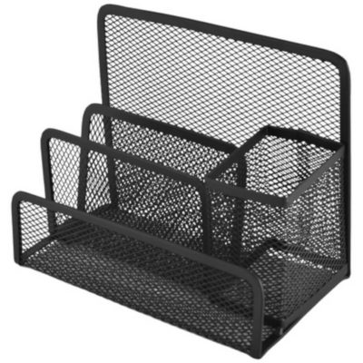 The Wire Mesh File & Pen Holder is a black metal and wire desk item with three files holder compartments and a pen holder compartment