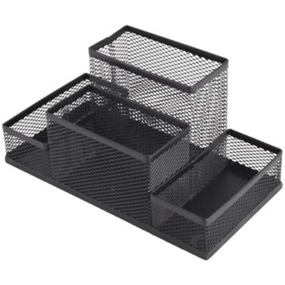 The Wire Mesh Stationery Holder is a black wire and metal desk item with four varying size compartments to sotre loose stationery pieces and pens
