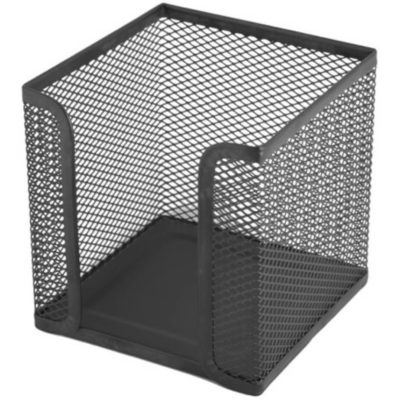 The Wire Mesh Paper Cube Holder is a black wire and mesh desk item designed to hold a paper cube for fast note taking