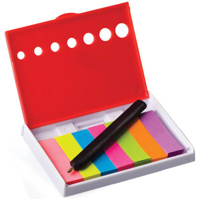 The Sticky Note Holder With Mini Pen contains 7 different colour sticky flags all neatly packed inside a clip flip open holder. Available in red.