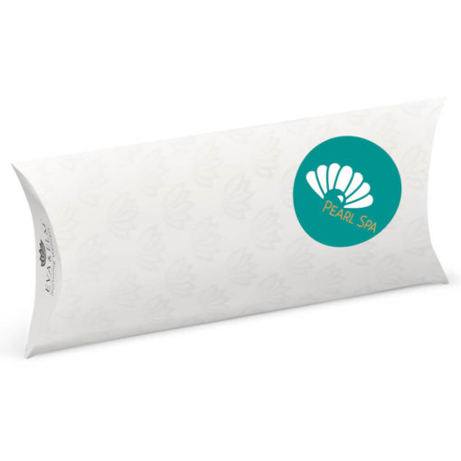 The Eva & Elm Hygiene Kit Pouch is a plain white cardboard pillow pocket like case with flaps on either end to store your kit