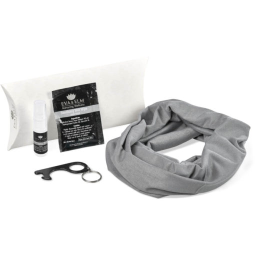 The Eva & Elm Landon Hygiene Kit contains an antibacterial wet wipe in a black rectangular easy-to-open sachet, a 5ml liquid sanitiser spray in a PP bottle, a black anodise aluminum touch-free keyholder with a finger loop and a bottle opener hook, and a grey 120gsm tubular headwear bandana. Packaged in a white cardboard pillow pocket box