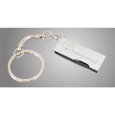 The Executive Keychain USB is a black plastic flat USB in a silver metal swivel cover with a detachable chain and splitring keyring. Packaged in a clear plastic box