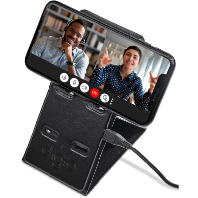The Alex Varga Hoffman Wireless Charging Phone Stand is a PU foldable phone stand in both the vertical and horizontal position. With fast charging features and packaged in a gift box