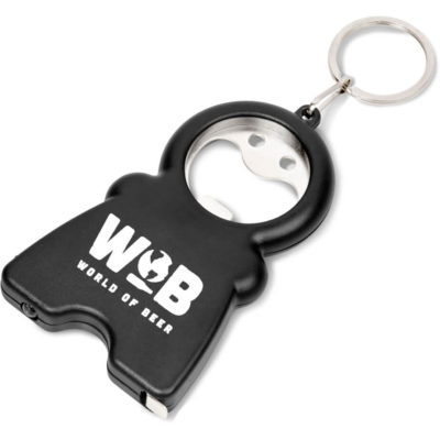 The Zane Bottle Opener Keyholder Black is a black ABS keyholder with a metal split ring keyring, a bottle opener tab, a bright white LED torch light and a lengthy retractable measuring tape