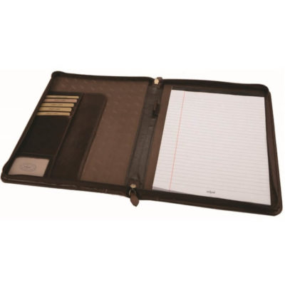 the A4 Dakota Leather Zip Around Folder is a brown genuine leather a4 folder with zip around closure, storage compartments for bank and business cards, a pen loop and an a4 exam pad