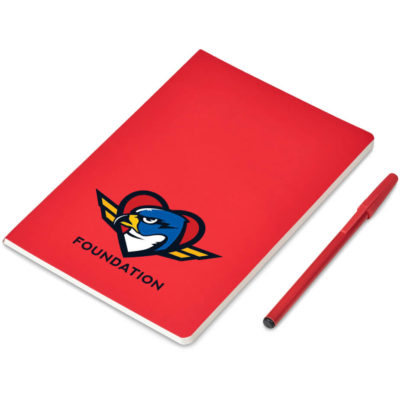 The Jotster Writing Set contains a red 96 lined page leatherette cover notebook, a plastic matching colour ballpoint pen with a removable cap and contains black ink, and a transparent PVC pouch with zip lock closure