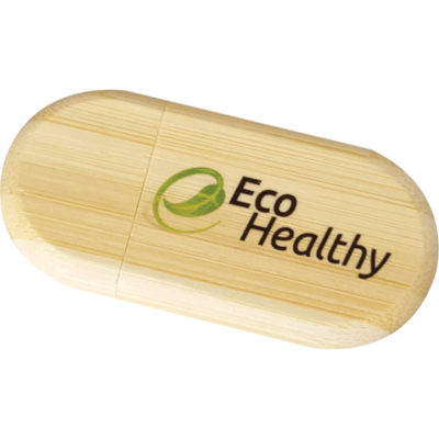 The Eco Bamboo USB 16GB is an oval shaped bamboo USB with a removable cap and 16gb memory capacity