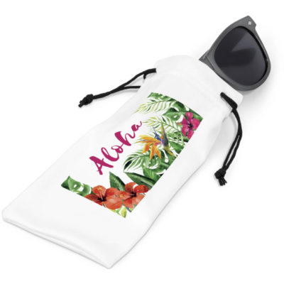 The Esplanade Microfibre Sunglasses Pouch is a rectangular shaped white polyester pouch with black drawstring closure great for keeping your glasses
